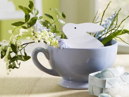 Easter tea cup with bunny and leaves inside