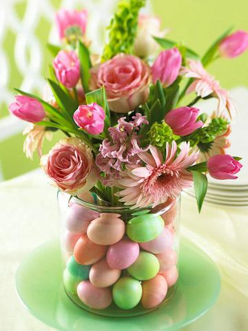 Eggs, roses and other spring flowers