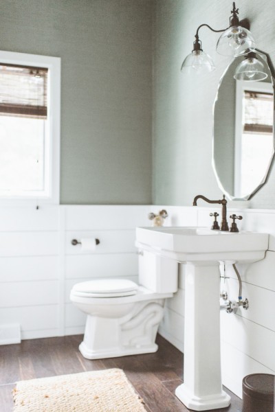 Fantastic powder room in white- Eclectic Rustic Cottage Interior with Summer Beach Style Touches