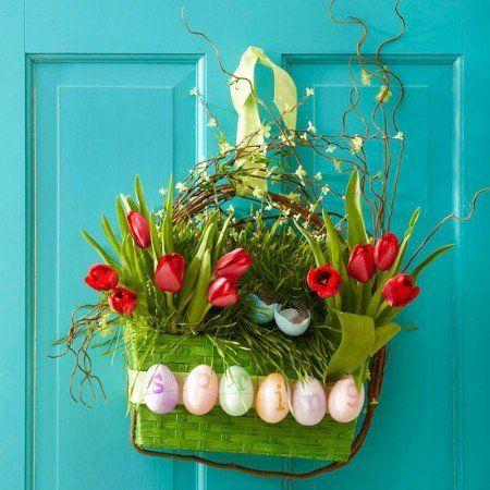 Fresh Easter Wreath with grass and tulips-home decorations with impressive holiday ideas