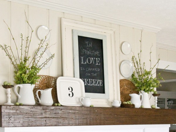Fresh Easter fireplace mantel – home decorating ideas for funny and joyful atmosphere