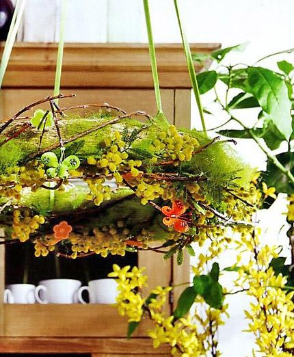 Fresh natural spring wreath
