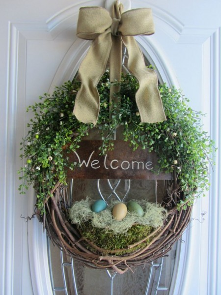 Front door Easter Wreath with a welcome sign-home decorations with impressive holiday ideas