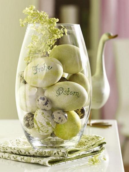 Glas jar full of Easter eggs