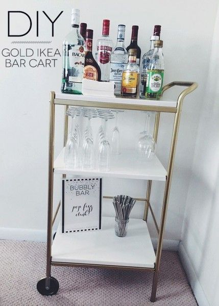 Gold IKEA bar cart