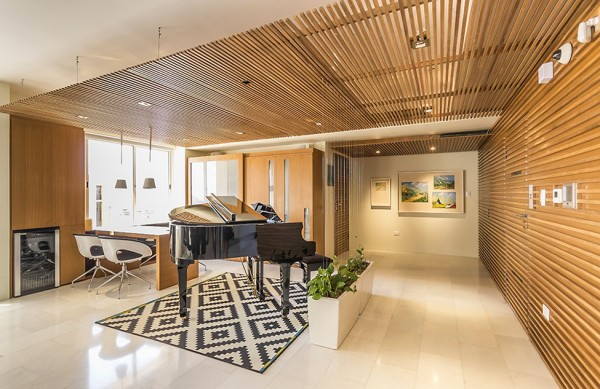 Grand piano inside a luxurious living room