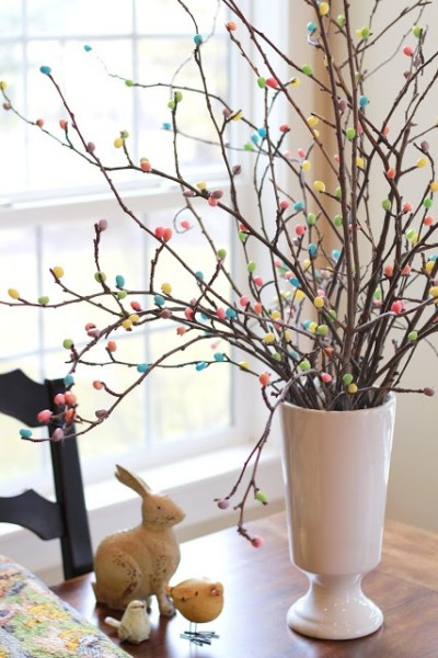 Hot glue jelly beans to tree branches for an adorable Easter Tree-home decorations with impressive holiday ideas