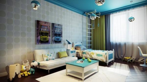 Kids bedroom with sofa and small table- interior design and decoration ideas for children living areas