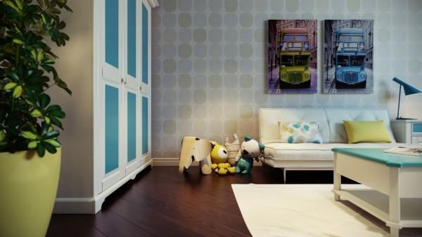 Kids room with British-inspired wall art- interior design and decoration ideas for children living areas