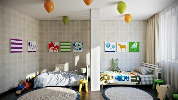 Kids room with colorful wall accents- interior design and decoration ideas for children living areas