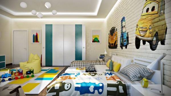 Kids room with funny wallpaper patterns- interior design and decoration ideas for children living areas
