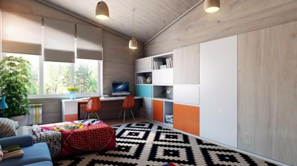 Kids room with impressive graphic rug- interior design and decoration ideas for children living areas
