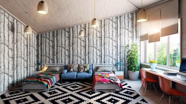 Kids room with modern forest wallpaper- interior design and decoration ideas for children living areas