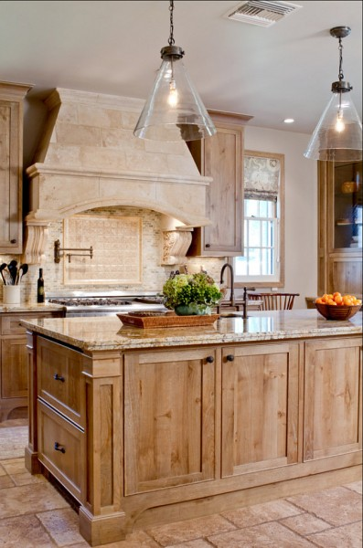 Kitchen island storage and glass pendants above it-42 Kitchen Interior Design Trends for Traditional Homes