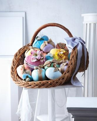 Knit Easter basket full of colorful items