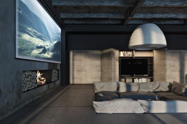 Living room with amazing fireplace in the concrete wall