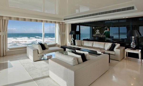 Living room with full height windows