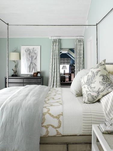 Love the wall color with neutral bedding– elegant interior design for sleeping rooms
