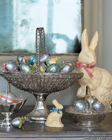 Metallic dot polka Easter basket