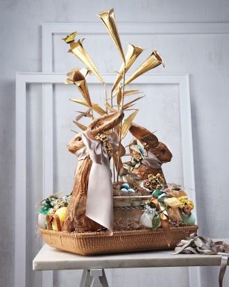Modern Easter basket with bunny inside