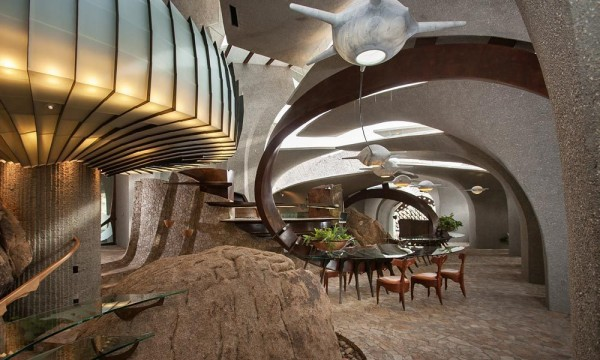 Modern furniture and natural stones inside the living areas-Organic Desert Residence - Architecture and Interior Design
