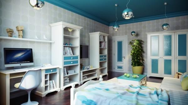 Modern kids bedroom in blue- interior design and decoration ideas for children living areas