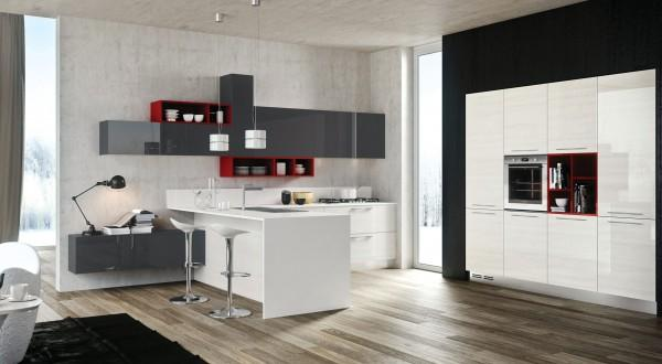 Modern kitchen in red and grey