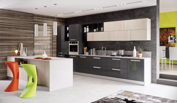 Modern kitchen in white and grey