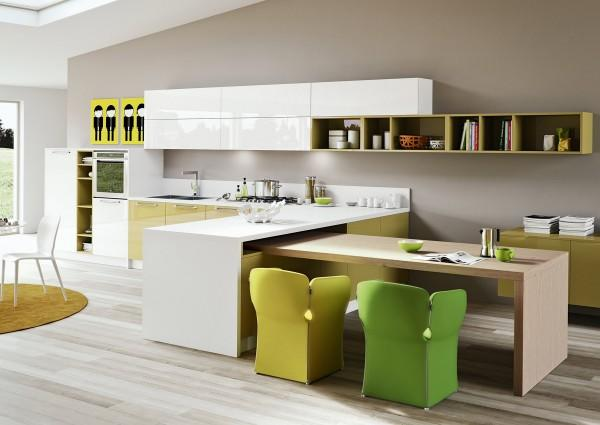 Modern kitchen with contemporary chairs
