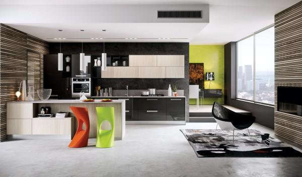 Modern kitchen with lounge are and a fireplace