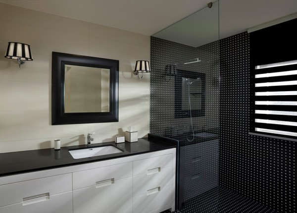 Modern minimalist bathroom in black and white
