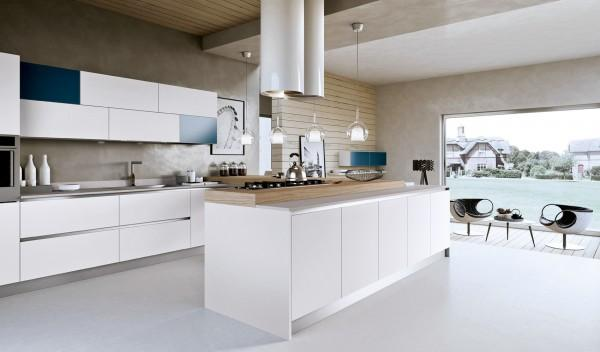 Modern white kitchen with blue accents