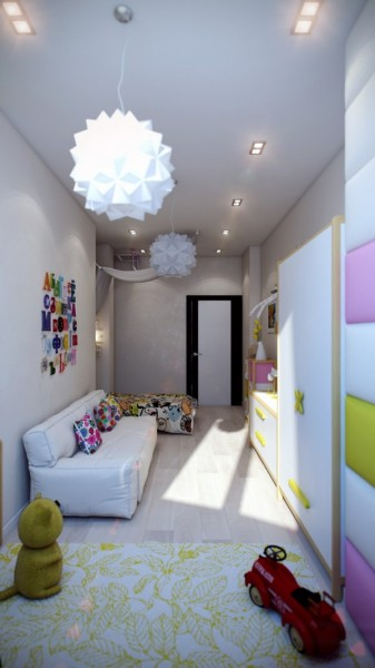 Narrow kids room in pale purple- interior design and decoration ideas for children living areas