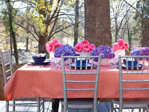 Outdoor dinner table prepared for Easter – home decorating ideas for funny and joyful atmosphere