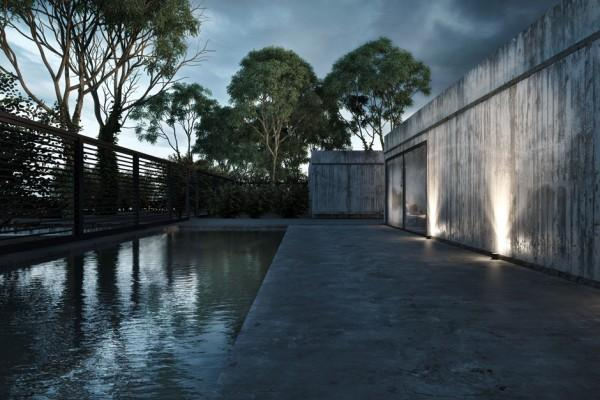 Outside pool and concrete pathway