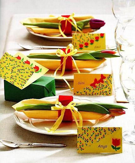 Personalized name signs on a holiday table