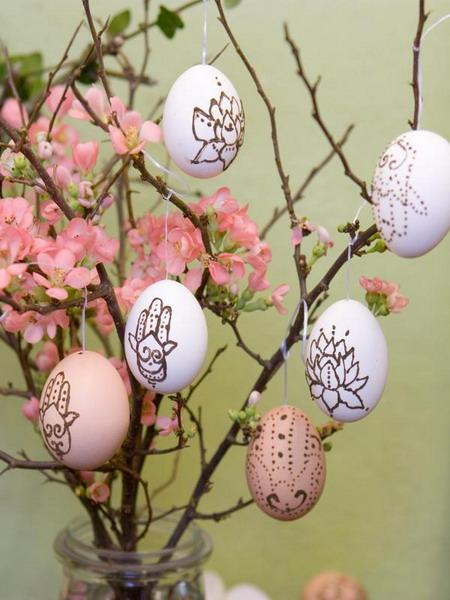 Pink Easter flowers and branches