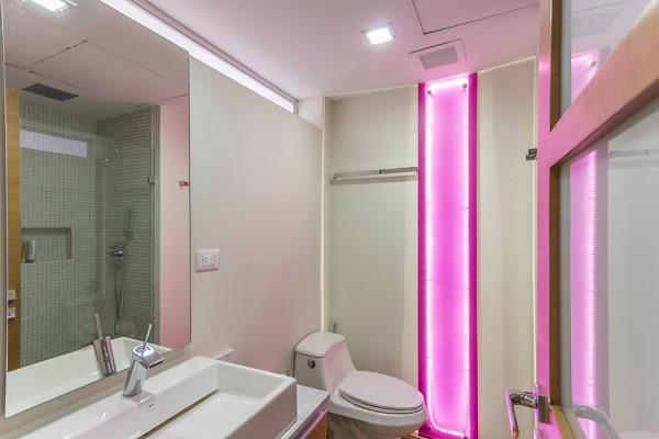 Pink led illuminated bathroom