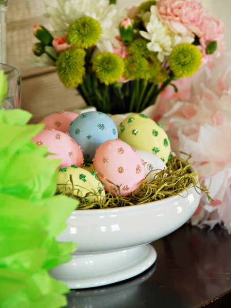 Porcelain bowl displaying colorful Easter eggs – home decorating ideas for funny and joyful atmosphere