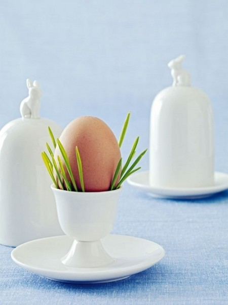 Porcelain egg cup with fresh spring grass stems– Inspiring Easter Decorating Ideas for a Memorable Holiday