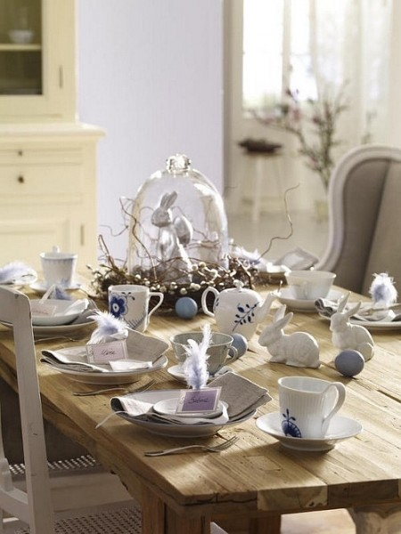 Porcelain flatware on a rustic table– Inspiring Easter Decorating Ideas for a Memorable Holiday