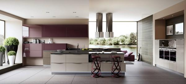 Purple kitchen with ultra modern appliances