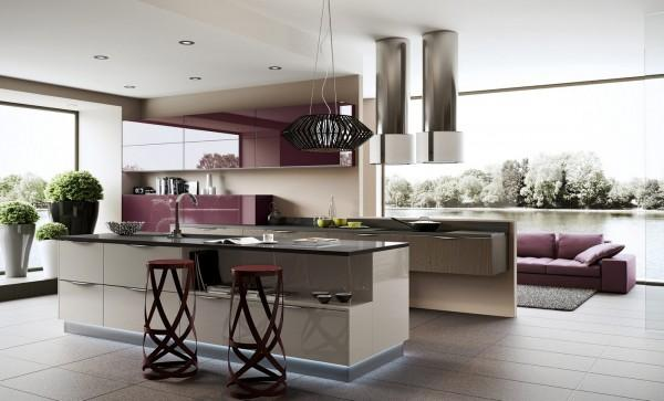 Purple units inside a modern kitchen