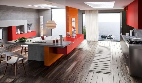Red and orange living together in a modern kitchen