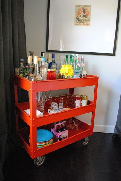 Red bar cart for drinks