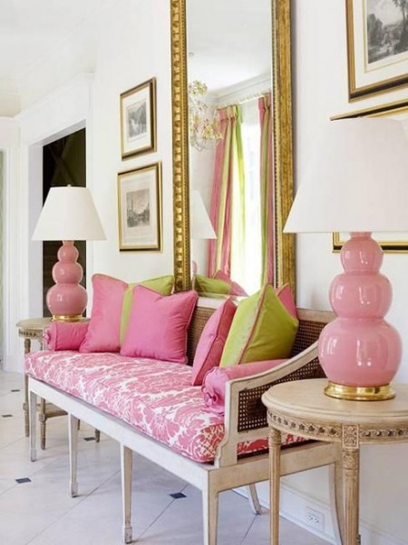 Romantic room with pink couch- interior design ideas for own, private, intimate place.
