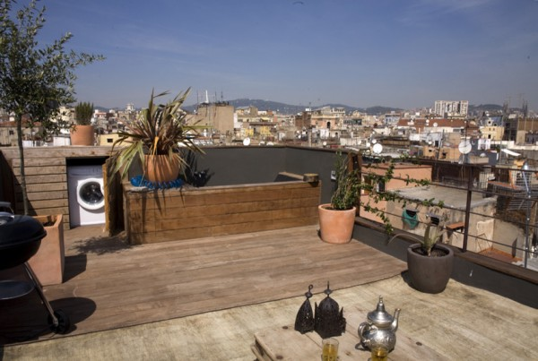 Rooftop terrace with barbecue zone-Small Apartment Interior Design in Barcelona