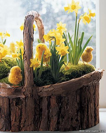 Rustic Easter basket with yellow flowers and birds