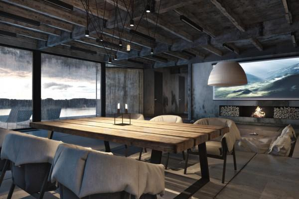 Rustic dinner table in spacious living room