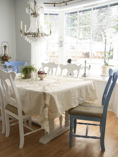 Shabby chic dining table and crystal chandelier- interior design and home decorating ideas